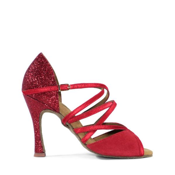 Sapato de Dança Galaxy de Salto Alto fabricado em Glitter Vermelho